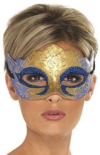 Smiffys, Unisex Venezianische Glitzer Augenmaske, One Size, Gold und Blau, 39025