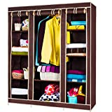 #6: Tied Ribbons Collapsible Wardrobe/Almirah for Clothes(Brown)