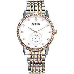 HongBoom Luxury Stainless Steel Band Wrist Watch 30m Waterproof Men's Casual Business Analogue Quartz Zircon Wristwatch