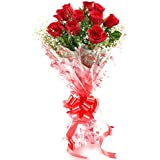 Floralbay Red Roses Bouquet Fresh Flowers In Cellophane Wrapping (Bunch Of 10)
