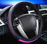 RUIRUI Universal Mikrofaser Leder Lenkradbezug Lenkradhülle Leder Lenkradschoner Anti Rutsch Lenkradabdeckung Auto , pink