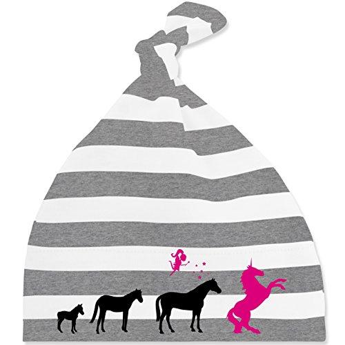 Evolution Baby - Evolution Einhorn - Unisize - Grau meliert/Weiß - BZ15S - gestreifte Baby Mütze mit Knoten / Bommel für Jungen und Mädchen