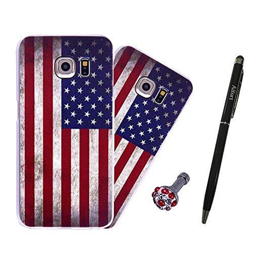 Preisvergleich Produktbild Samsung Galaxy S6 / S6 Duos Hülle, Alfort 3 in 1 3D Handyhülle Schutzhülle PC Hart Case Cover Telefon Kasten für Samsung Galaxy S6 / S6 Duos mit Amerikanische Flagge ( Farbe ) + Netter Kristall Staub Stecker + Schwarz Stylus Pen
