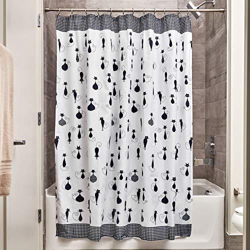 iDesign SophistiCat Duschvorhang | Vorhang für Badewanne und Dusche| 183,0 cm x 183,0 cm großer Badewannenvorhang mit Katzen-Print| Polyester schwarz/weiß -