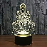 Illusion 3D Statue de Bouddha LED Lampe Lumières LED Décoration Lampes Touch Control 7 Couleurs Change Veilleuse USB Powered Enfants Cadeau Anniversaire Noël Cadeaux