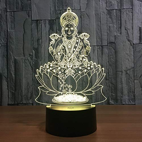 Ilusión Optica 3D Estatua de Buda Luz Nocturna 7 Colores Cambio de Botón Táctil USB de Suministro de Energía LED Lámpara de Mesa Lámpara Regalo de Navidad Cumpleaños