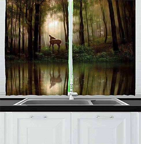 Hmihilu Nature Kitchen Curtains, Baby Deer in The Forest with Reflection on Lake Foggy Woodland Graphic, Window Drapes 2 Panel Set for Kitchen Cafe Decor, Green Cocoa 110x74 in -