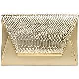 CASPAR TA386 stylische große Damen Envelope Clutch Tasche / Abendtasche mit Kroko Applikation, Farbe:gold;Größe:One Size