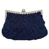 Tskybag Ladies Girls Womens Evening Clutch Bags Wedding Bridal Braided Rhinestone Purse Handbag (Navy Blue)