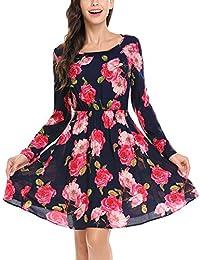 Beyove Damen Elegante Blumenmuster Kleid Abendkleider Strandkleid mit  Blumendruck Festlich Casual Langarm Knielang d7e84d545a
