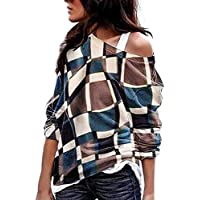 Yvelands Clearance Women's Plus Size Long Sleeve Color Matching Oblique Collar Patchwork Tops Shirt