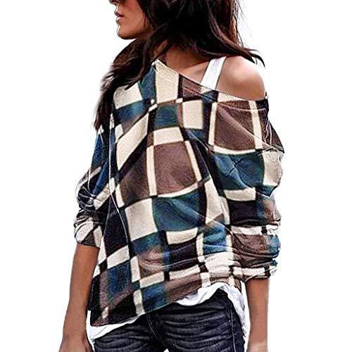 Modaworld top casual t-shirt da donna magliette women's plus size manica lunga color taglie forti matching oblique collare patchwork tops shirt bluse primavera ed estate