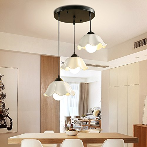 Omped Led moderne Schlichtheit Restaurant kreative Drei Restaurant Kronleuchter Bar Anhänger Lampen und Laternen gerade Festplatte 3 Glühlampe des Frontscheinwerfers warmes Licht