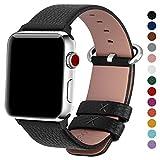 Fullmosa kompatibel Watch Armband 42mm Leder in 15 Farben mit Edelstahlschließe, Schwarz 42mm/44mm