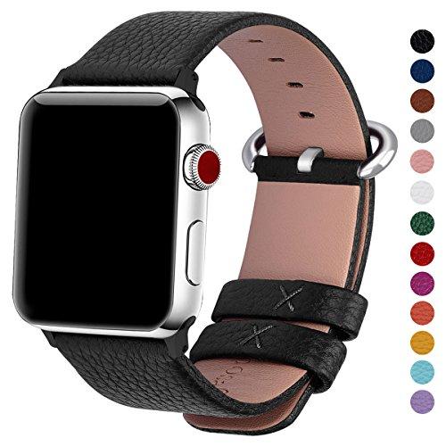 Guten Hoffnung, Damen Leder (Fullmosa kompatibel Watch Armband 42mm Leder in 15 Farben mit Edelstahlschließe, Schwarz 42mm/44mm)