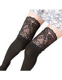 SHOBDW Mujer Chica Invierno Sobre la rodilla Calentador de la pierna Calcetines de encaje de algodón