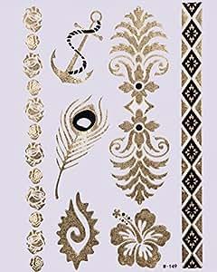 GOLD Tattoo Flash Tattoos Einmaltattoos Beauty Armband Anker Blumen Feder W149 - LK Trend & Style