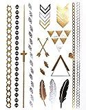 KLIMBIM Bling your Body mit Flash Metallic Tattoos Gold Schmuck Tattoo für Körper Finger Arme viele Designs (No.18)