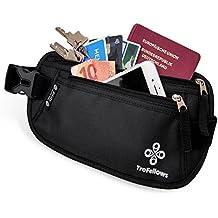 Cintura da viaggio portadocumenti di qualità con protezione RFID per uomo e donna | Cintura portasoldi leggera | Marsupio per sport e viaggi | Cintura portasoldi piatta e spaziosa
