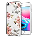 Spigen - 054CS22619 - [Liquid Crystal Aquarelle] iPhone 8 / 7 Hülle Hülle Soft Flex Premium TPU Silikon Handyhülle Passgenau Transparent Blumen Motiv - Rose (Blumenmuster)