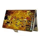 Nacre Baiser de Gustav Klimt Art Peinture Motif Business Crédit Nom carte d'identité support coque en métal en acier inoxydable gravé Slim Sac à main Poche Porte-monnaie Cash