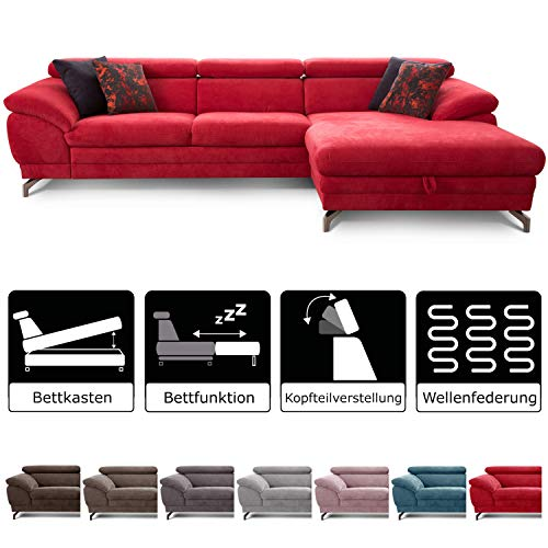 Cavadore Ecksofa Sheldon mit Bettfunktion / Großes Schlafsofa mit Bettkasten und verstellbaren Kopfteilen / Modernes Design / 293 x 78 x 176 / Rot (Web-verstellbare)