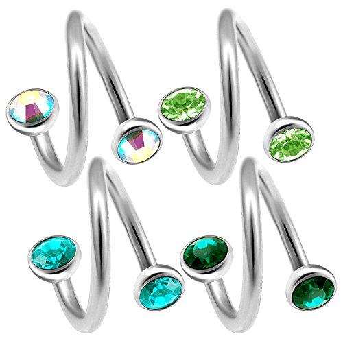 4 Stück 1,2mm piercing spirale 8mm ohr tragus piercing augenbrauenpiercing helix cartilage schmuck Kristall-Halbkugel - E5XE5V