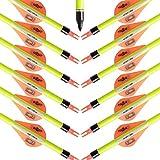 MEJOSER Bogenpfeile Carbon 30 Zoll für Bogenschießen mit Easton 2 Zoll Vanes Powerflight Jagdpfeile für Compoundbogen Recurvebogen Langbogen (neo mit pfeilköcher)