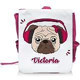 Kinder-Rucksack mit Namen Victoria und schönem Motiv - Mops mit Kopfhörer und Schleife - in Pink für Mädchen