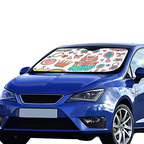 EIJODNL Sonnenschutz für das Auto Windschutzscheibe Princess Tiara Crown Notebook Doodle Faltbarer Sonnenschutz für maximalen UV- und Sonnenschutz Halten Sie Ihr Fahrzeug kühl -
