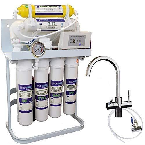 PUR Booster Quick 7 Stufen Direct flow Umkehrosmoseanlage + 3-Wege Wasserhahn