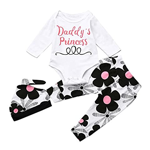 Baby Costume Sets, KaloryWee Newborn Infant Toddler Baby Boys Girls Letter Print Tops+Pant+Hat 3Pcs Outfits Set Clothes For 0-24 Months (0-3 Months, White - Daddy's