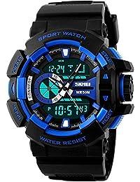 BLUE DIAMOND Skmei Analog-Digital Black Dial Men's Watch - For Men