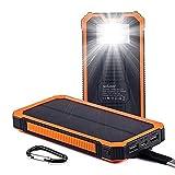 Solar Ladegerät Powerbank, Soluser 15000mAh Externe Akku Handy Power bank Outdoor Reiseutensilien mit 6LED Taschenlampe für iPhone, iPad, Samsung Galaxy und andere Smartphones