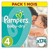 Pampers - Baby Dry - Couches Taille 4 (8-16 kg) - Pack 1 mois (x174 couches)