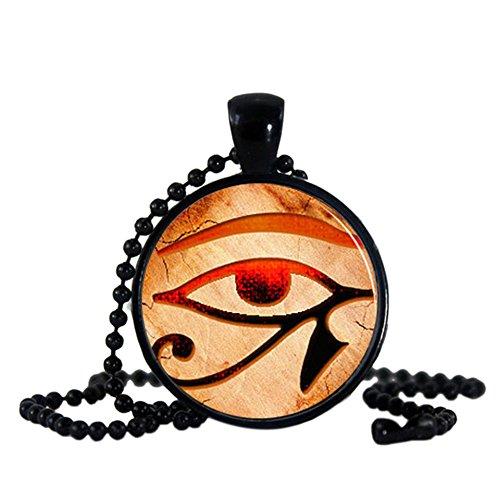 Fengteng Stein Glas Damen Herren Halskette Auge des Horus Anhänger mit Perlen Kette antikes...