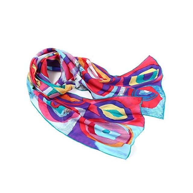 561aa09ac98 ... 160cm cent eau   écharpe en soie imprimé très artistique - Ton rouge ·  Prettystern - P822 longue écharpe foulard en soie de l art de la peinture