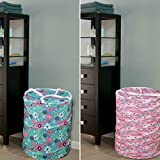 #10: Ketsaal Laundry Special COMBO(Pack of 2) Pop-Up Round Laundry Basket Bag Size (in CM): 39X39X42, Volume:-30L /Foldable/Multipurpose/Carry Handle/Zippered Lid for home, cloth storage bag- Color and Print might vary According to Availibility.