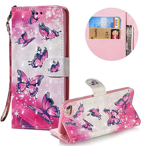 Gurt Brieftasche für iPhone 8,Wallet Leder Handyhülle für iPhone 7,Moiky Stilvoll 3D Heiß Rosa Schmetterling Muster Geprägt Klappbar Stand Handytasche