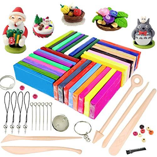 Polymer Ton 32 Farben Clay, iFergoo Kinderknete Set Ofen Modelliermasse Modellierung Set DIY Basteln Scrapbooking