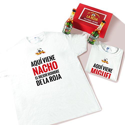 Pack de Dos Camisetas Personalizadas 'Aquí viene el mejor hombre de La Roja' + Cerveza para Disfrutar del Mundial (Blanco)