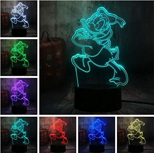3D Nachtlicht Nette Reizende Fauntleroy Ente Cartoon 7 Farbwechsel 3D LED Nachtlicht Kinder Schlaf Schreibtischlampe Geburtstag Weihnachtsgeschenk Dekor