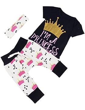 """Puseky Stramplerset für Neugeborene, Babys, Mädchen, Motiv mit Krone und Aufschrift """"I'm a Princess"""", Oberteil..."""