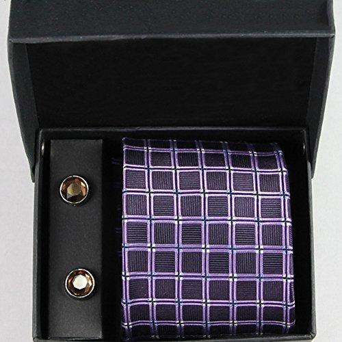 CHAOXIAN Krawatte 100% Seide Passen Geschäft Hochzeit Pfeilförmig Mehrfarbig Vielfalt Einstellen: Krawatte + Manschettenknöpfe, 8 * 145cm (Farbe : D) - Britische Streifen-krawatte
