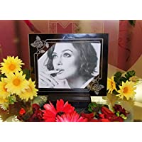Portafoto con rose sabbiate su vetro fatto a mano in Italia