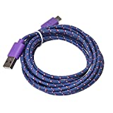 Ouneed® 1m/2m/3 m Universal USB Nylon Cable Chargeur Android (3m, Violet)