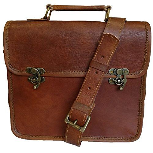 Neue Männer Vintage Lock Messenger braun Tasche aus echtem Leder Satchel Schultertasche (Satchel Messing)