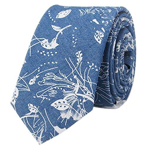 Panegy Moda Hombres Corbata Estrecha de Algodón de Denim Floral 145cm*6cm Vintage Casual Accesorio Necktie - Azul oscuro