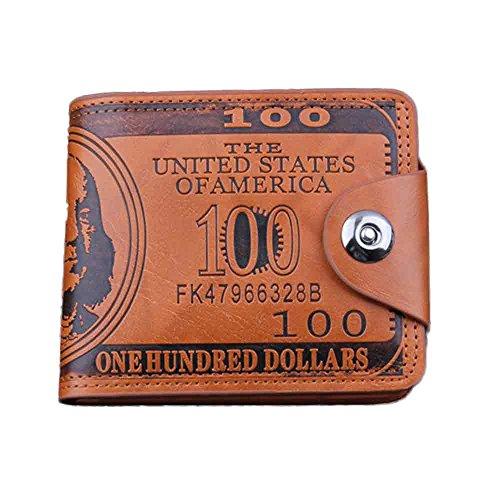 BaZhaHei-Cartera Carteras Hombre Billetera de dólar Estadounidense Billetera Billetera Billetera Cuero marrón Foto Billetera de botón de Aceite Hecha a Mano Cartera Billetera de Cuero (Marrón, L)
