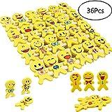 YueChen 36 Stück Emoji Kinder Radiergummi Smiley Radierer, ideal für Party Spielzeug Gefälligkeiten, Pinata Füllstoffe, Party Taschen, Geschenke & More